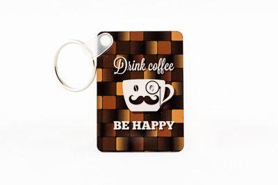 Dubbelzijdige sleutelhanger koffie
