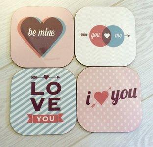 Onderzetters voor valentijn