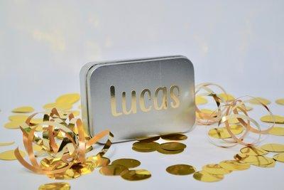 Doosje vraag communie Lucas Tekst Blinkend Goud 2020