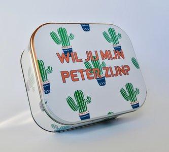 Koekjesdoos wil jij mijn peter worden cactus